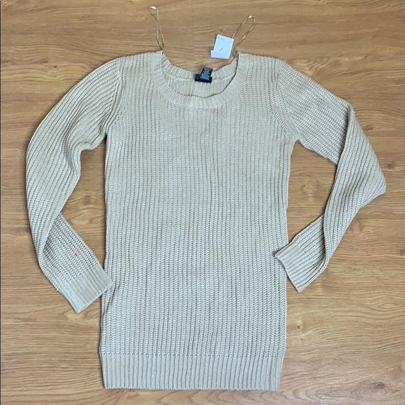 Rue21 Tops - Rue 21 Dark Cream Gold Long Sleeve Sweater Small
